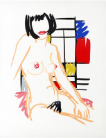 Tom WESSELMANN | Monica sitting with Mondrian | Screen-print available for sale on composition gallery