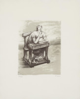 Henry MOORE | Girl Seated at Desk IV | Lithograph available for sale on composition gallery